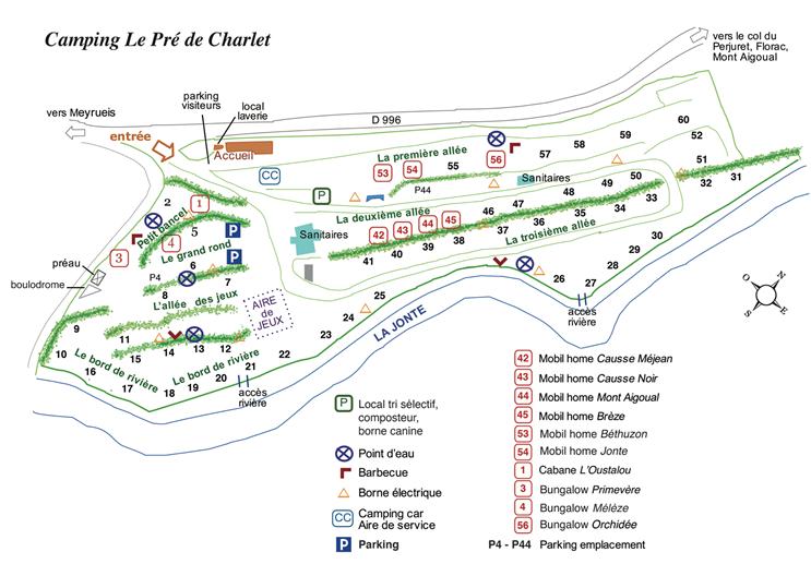 Plan du camping Le Pré de Charlet à Meyrueis en Cévennes