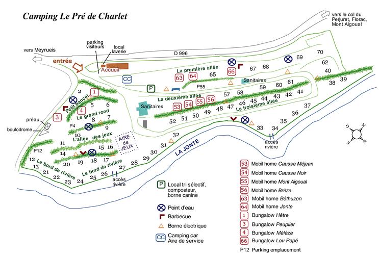 Plan du camping Le Pré de Charlet